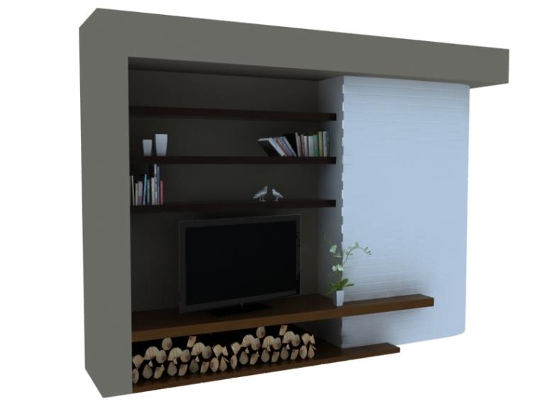 简约美式电视墙3D模型下载