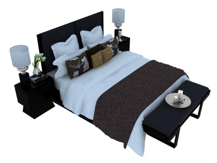 欧式大气双人床资料下载-宽敞舒心双人床3D模型下载