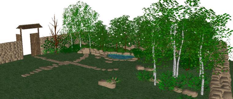 自然是庭院景观设计模型-场景一