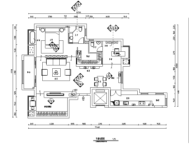 奢华时尚风二居室住宅设计施工图(附效果图)