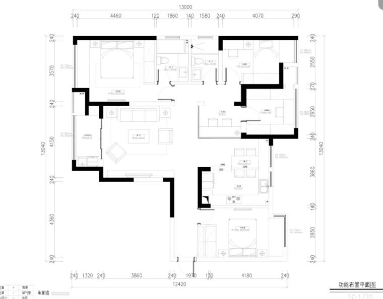 [常熟]中央华城145㎡台湾风住宅设计施工图及效果图
