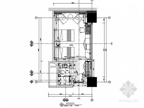 [陕西]航空中心酒店新中式标准双人间装修施工图(含效果)