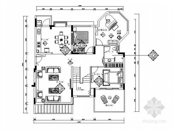 [原创]西欧3层迷你型别墅2居室室内设计施工图(含效果图)