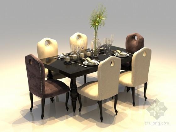 时尚餐桌椅3D模型下载