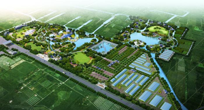 [上海]生态农业旅游庄园景观规划设计方案-总体鸟瞰效果图