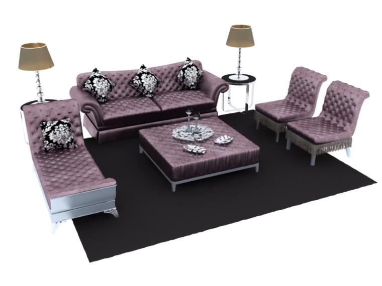 欧式组合沙发3D模型资料下载-欧式沙发组合3D模型下载