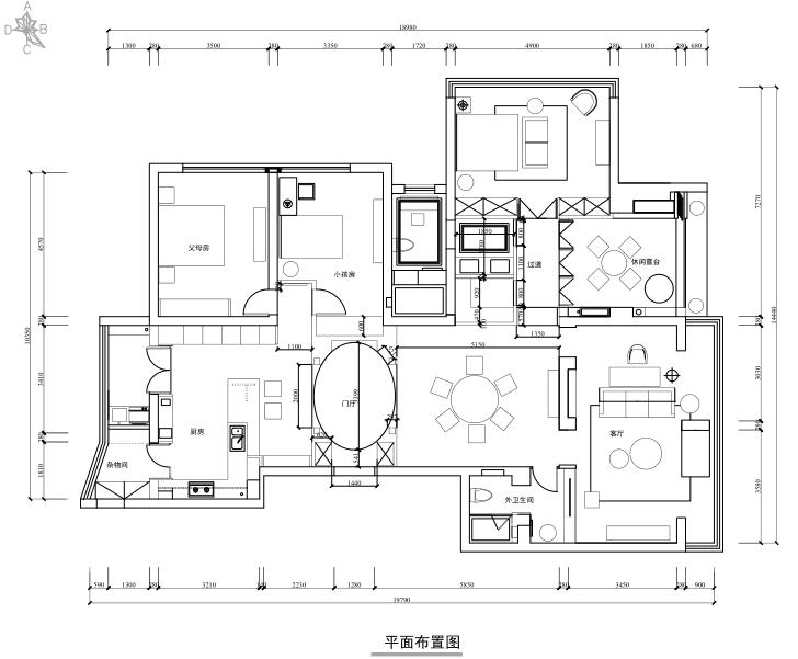 [杭州]景江城市花园三居室住宅设计施工图及效果图