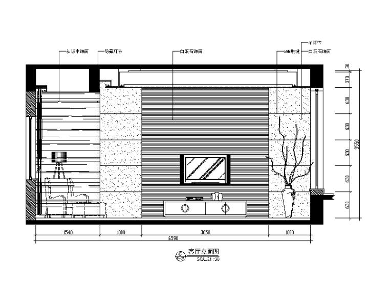 现代中式风格别墅设计CAD施工图(含效果图)_3
