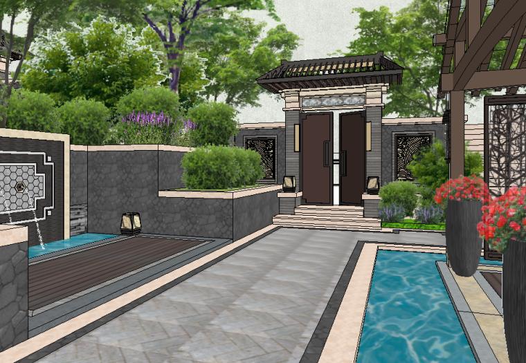 新中式风格庭院大门模型设计