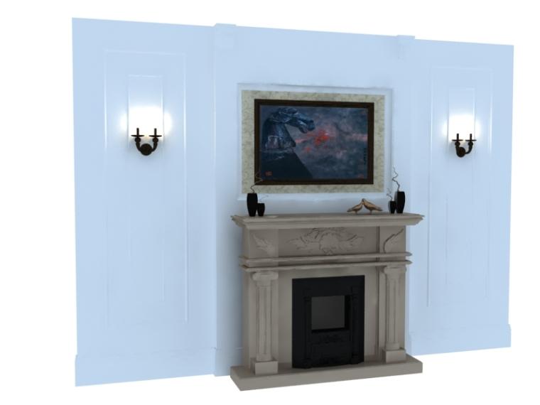 美式壁炉装饰3D模型下载