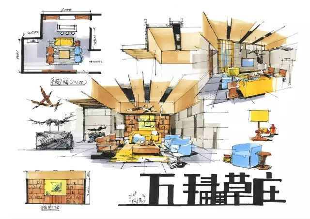 室内手绘 室内设计手绘马克笔上色快题分析图解_13