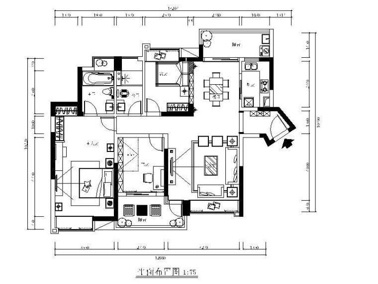 [东莞]简约欧式三居室设计施工图(含效果图)