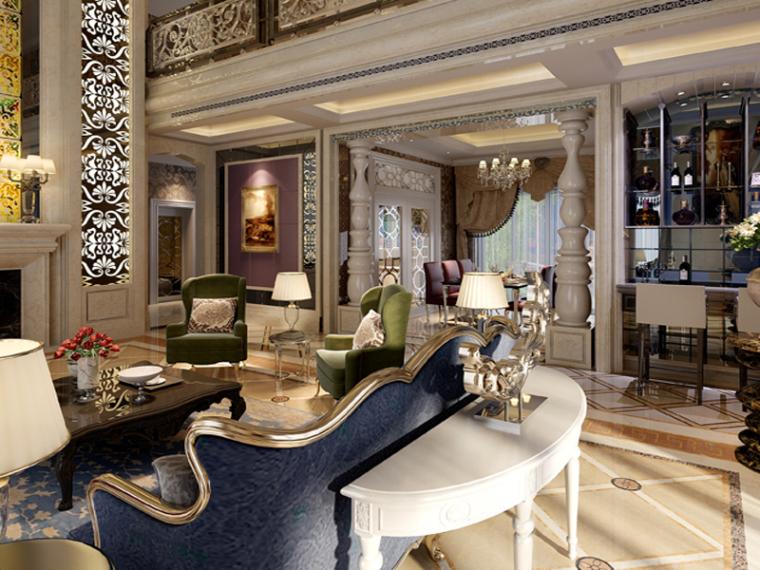 大气奢华客餐厅3D模型下载