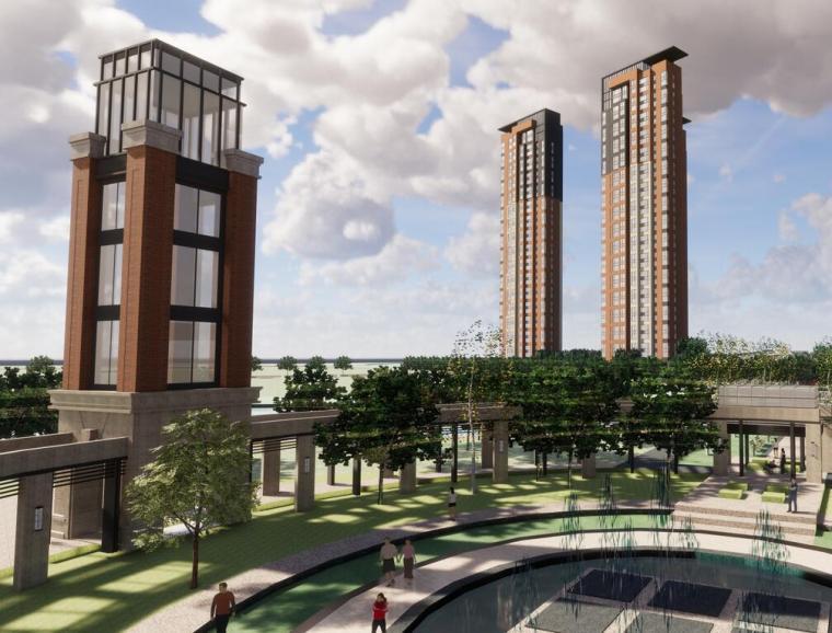 褐石风格小区总体模型建筑设计(2018年)