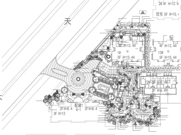 滨海住宅区别墅景观规划设计施工文本-乔灌木种植平面图