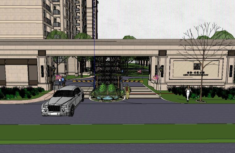 路径香港公馆居住区景观SU模型设计(新中式风格)