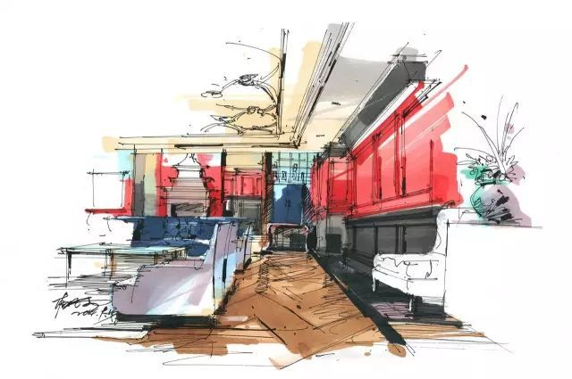 室内手绘 室内设计手绘马克笔上色快题分析图解_11