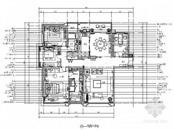 [苏州]工业园区欧式风格三居室室内装修CAD施工图(含效果图)