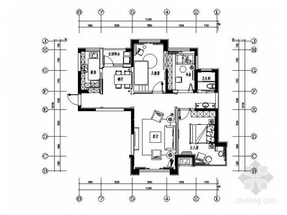 [原创]大连美式风格样板房施工图(含高清效果图及材料表)
