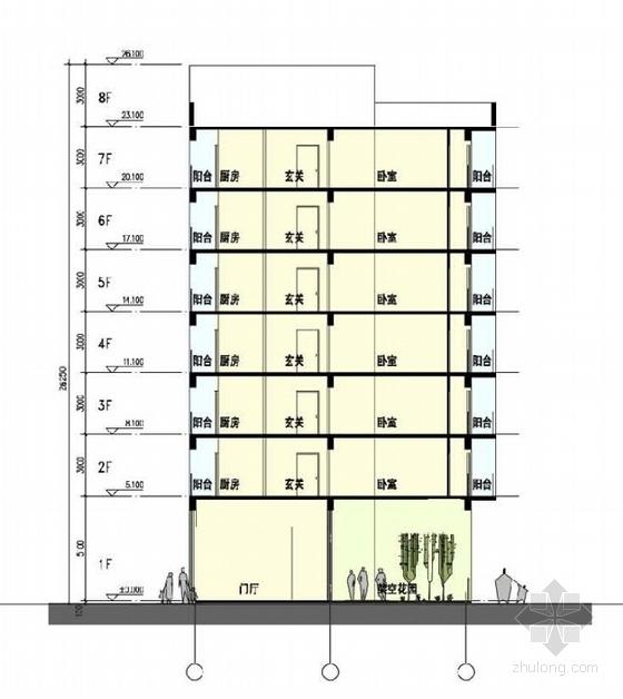 单体建筑剖面图