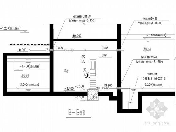 消防系统泵站节点详图(泵房 消防水池)