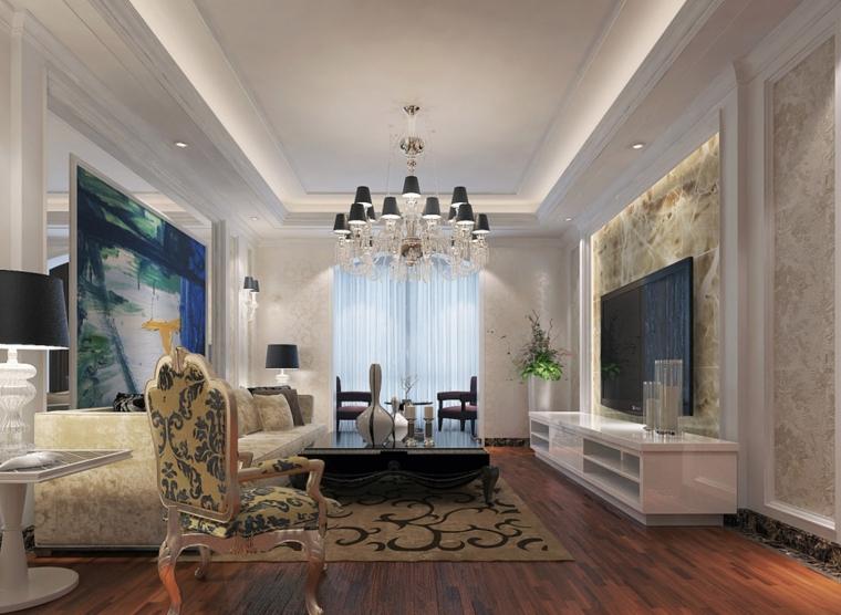 装修客厅时进门的对角处若有走道,可放置屏风守住财位