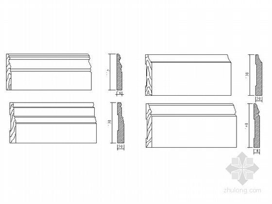 现代踢脚线CAD图块下载