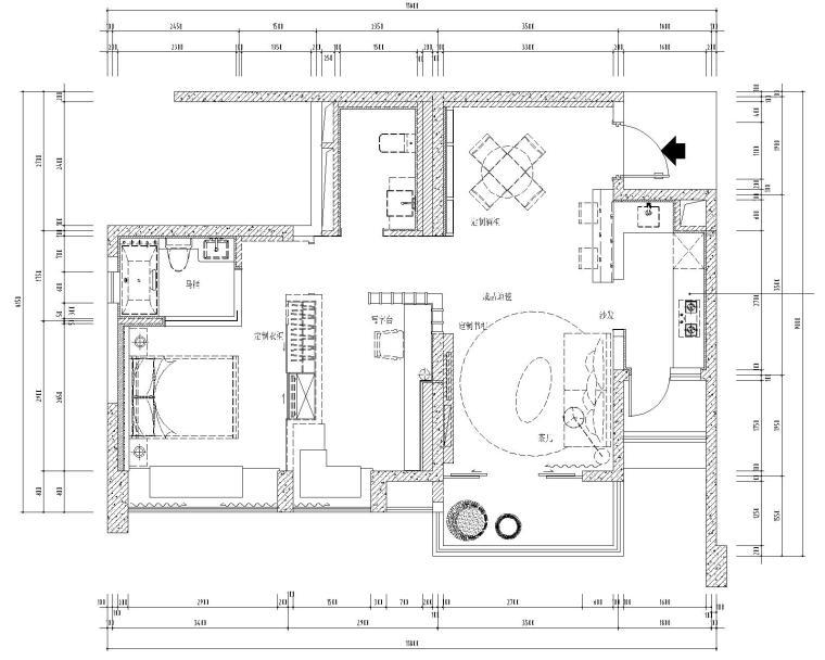 [四川]成都高新区九龙仓晶科名苑65.8平住宅样板房室内装修竣工图(附27张效果图)