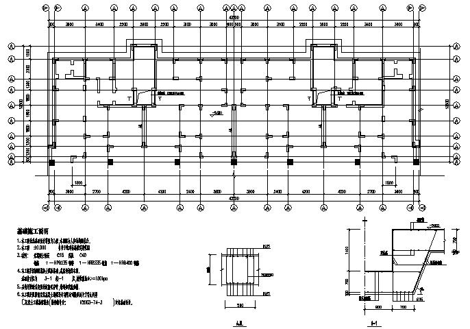 43X13.5m异形柱框架住宅楼施工图(CAD,11张)