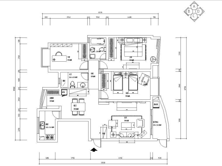现代城施工图施工图设计(附效果图)