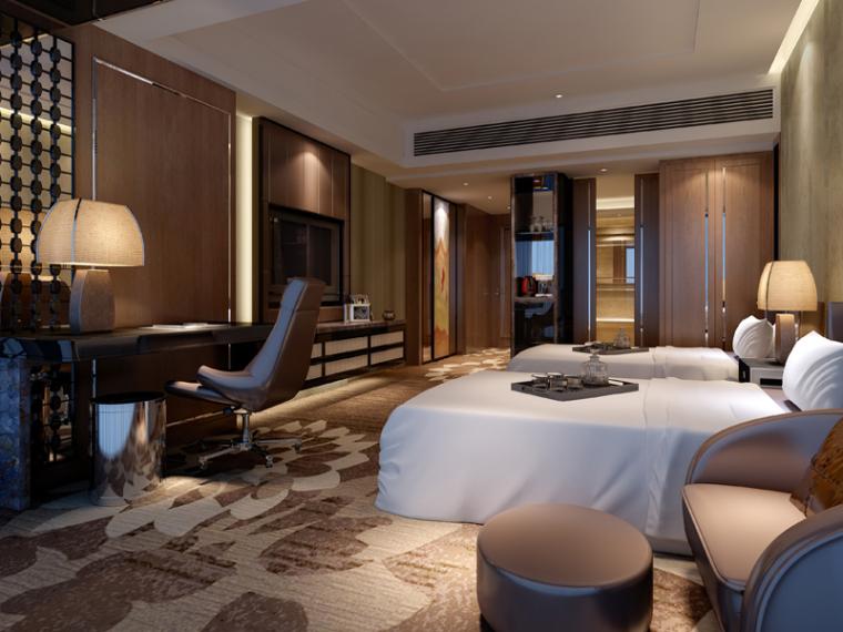 现代标准客房3D模型下载