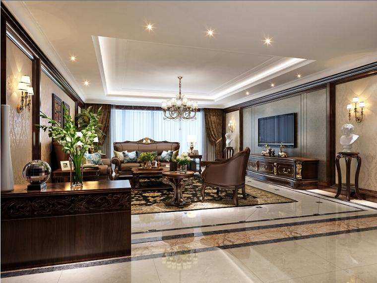 200㎡家装室内设计方案效果图(含3D模型)