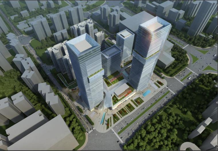 [深圳]超高层玻璃幕墙双塔式商业综合体建筑设计方案文本