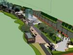 广场公园设计sketchup模型带状景观SU草图大师模型