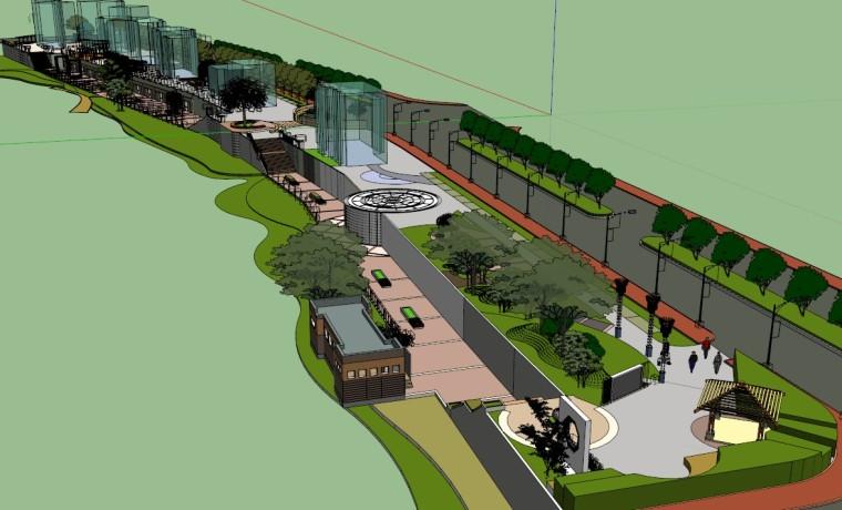 草图大师如何做浮雕资料下载-广场公园设计sketchup模型带状景观SU草图大师模型