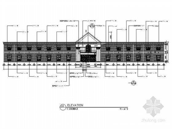 [新疆]2000平海洋主题餐厅室内装修施工图(含实景效果图)-[新疆]2000平海洋主题餐厅室内装修施工图外立面图