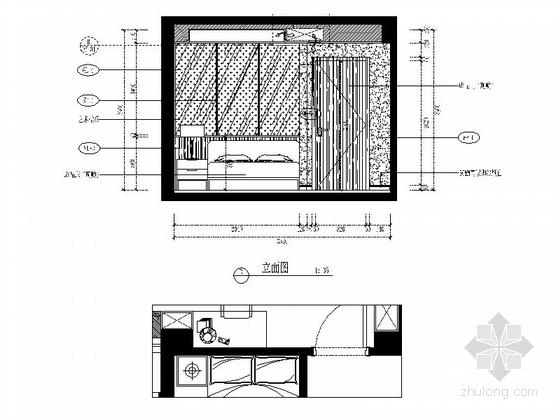 [福州]现代风格130平三居室装修图(含效果)长辈房立面图