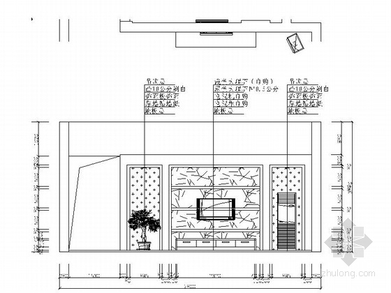 现代高档复式样板间装修施工图(含效果)客厅立面图