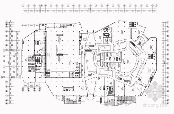 现代风格超高层甲级塔楼式办公楼建筑平面图