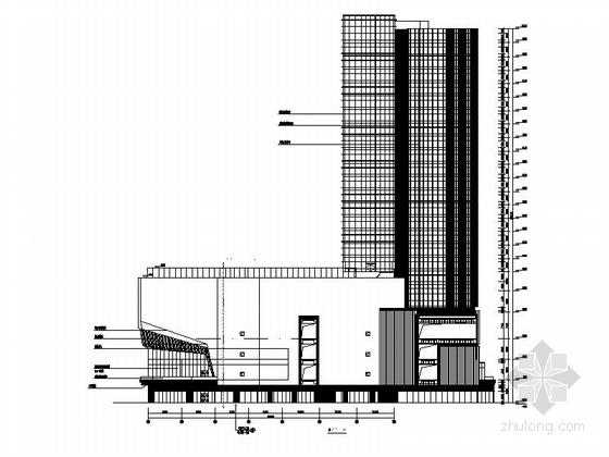 [南京]超高层铝合金墙面带底商研发办公楼建筑施工图-超高层铝合金墙面带底商研发办公楼建筑立面图