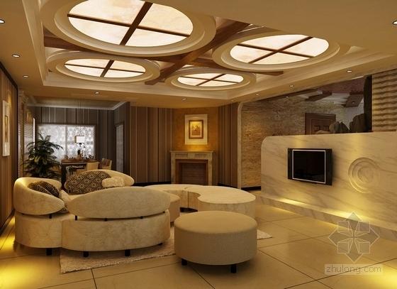 [无锡]滨湖知名地产现代五居室装修图(含效果)客厅效果图
