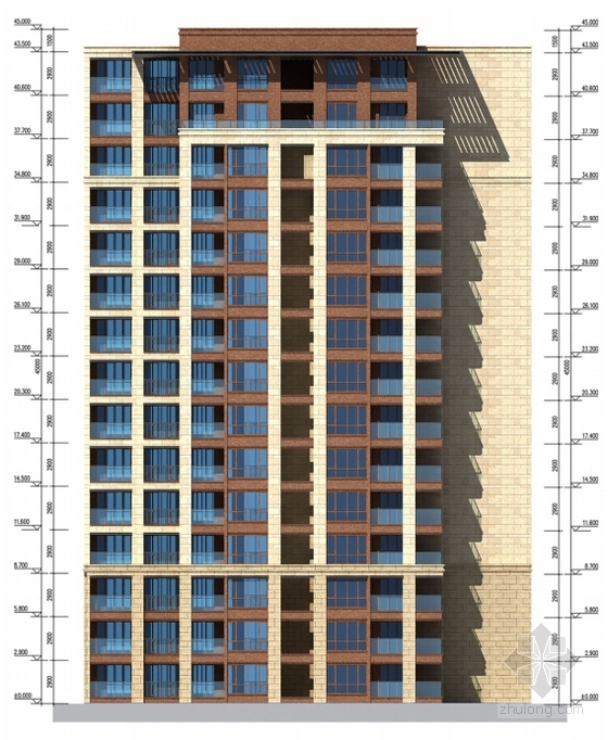 [成都]纯净主义风格高层住宅区规划设计方案文本-纯净主义风格高层住宅区规划立面图