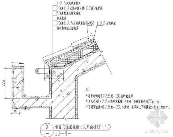 倒置式保温混凝土瓦屋面檐沟(22.5到30度坡)