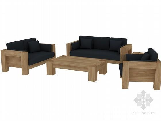 简洁木质沙发3D模型下载