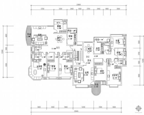 板式多层一梯二户户型图(138/125)