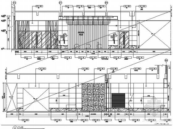 [苏州]环抱独墅湖水天一色苏式恬静会议酒店设计施工图(含方案及实景)中餐前厅走道立面图