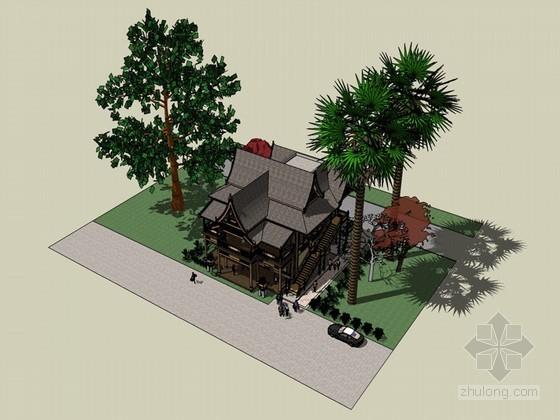 傣族风格活动室SketchUp模型下载