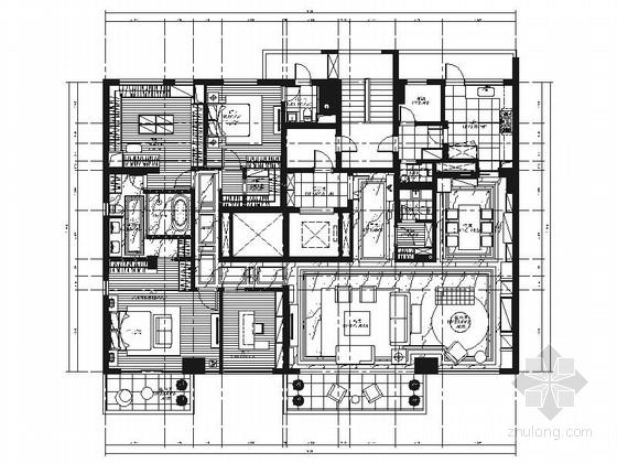 [上海]精品高档简欧风格四居室豪宅室内装饰施工图(含效果)