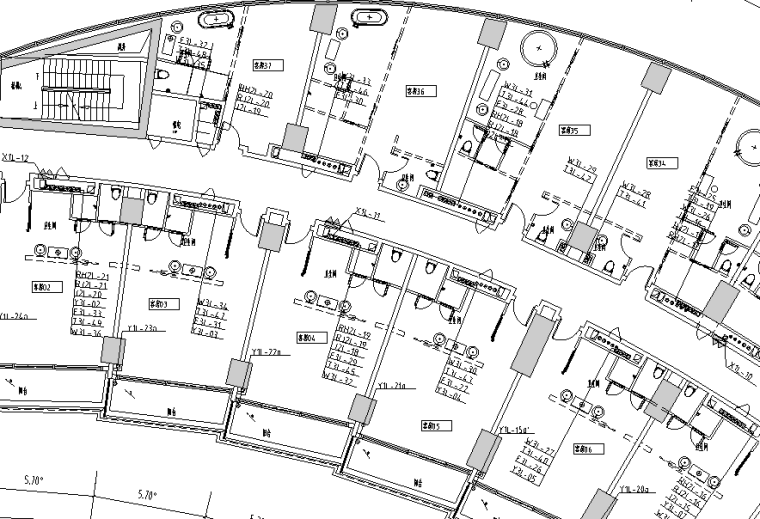 海口丹娜给排水施工图(含泵房大样,卫生间大样,中水处理系统,气体灭火布置图,太阳能热水屋顶平面图)_2