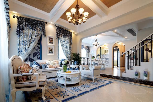成都地中海风格别墅装修设计效果图 有那么一点小清新哟